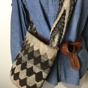 Vintage handmade wool bucket bag purse